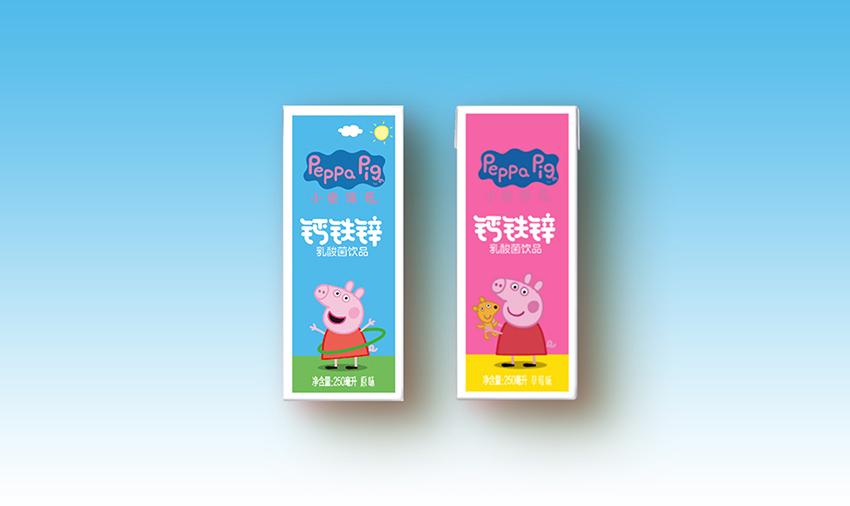 小猪佩奇乳酸菌250ml-钙铁锌原味   钙铁锌草莓味